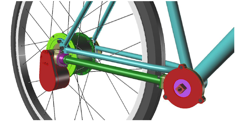 Bisby's Rhinoceros model of a hypothetical bicycle application of his dynamic threshold CVT, one of many vehicular applications on display at his website www.diametroid.com.  In this scenario, the bike transfers power through a drive shaft rather than a chain to the transmission attached to the rear hub. In far right, an added motor for an electric-assist bike.
