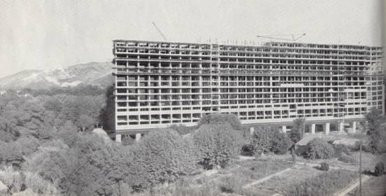 Housing Block ? Construction of Unite d'habitation in 1945. Le Corbusier's housing layouts were heavily prescribed by a top?down Cartesian framework.